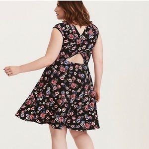 Torrid Floral Textured Crossback Skater Dress